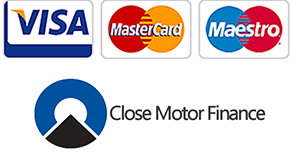 Payment icons for Visa, MasterCard, Close Motor Finance and Maestro